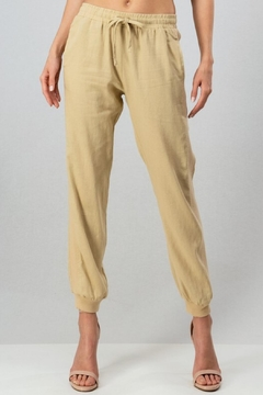 trend notes Linen Jogger Taupe - Alternate List Image