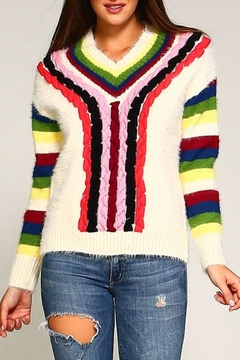 Shoptiques Product: Multi-Color Furry Sweater