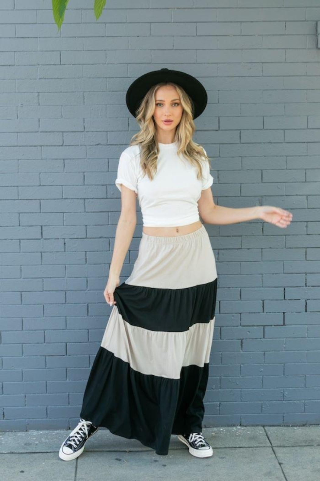 Tres Bien Color Block Tiered Maxi Skirt - Back Cropped Image
