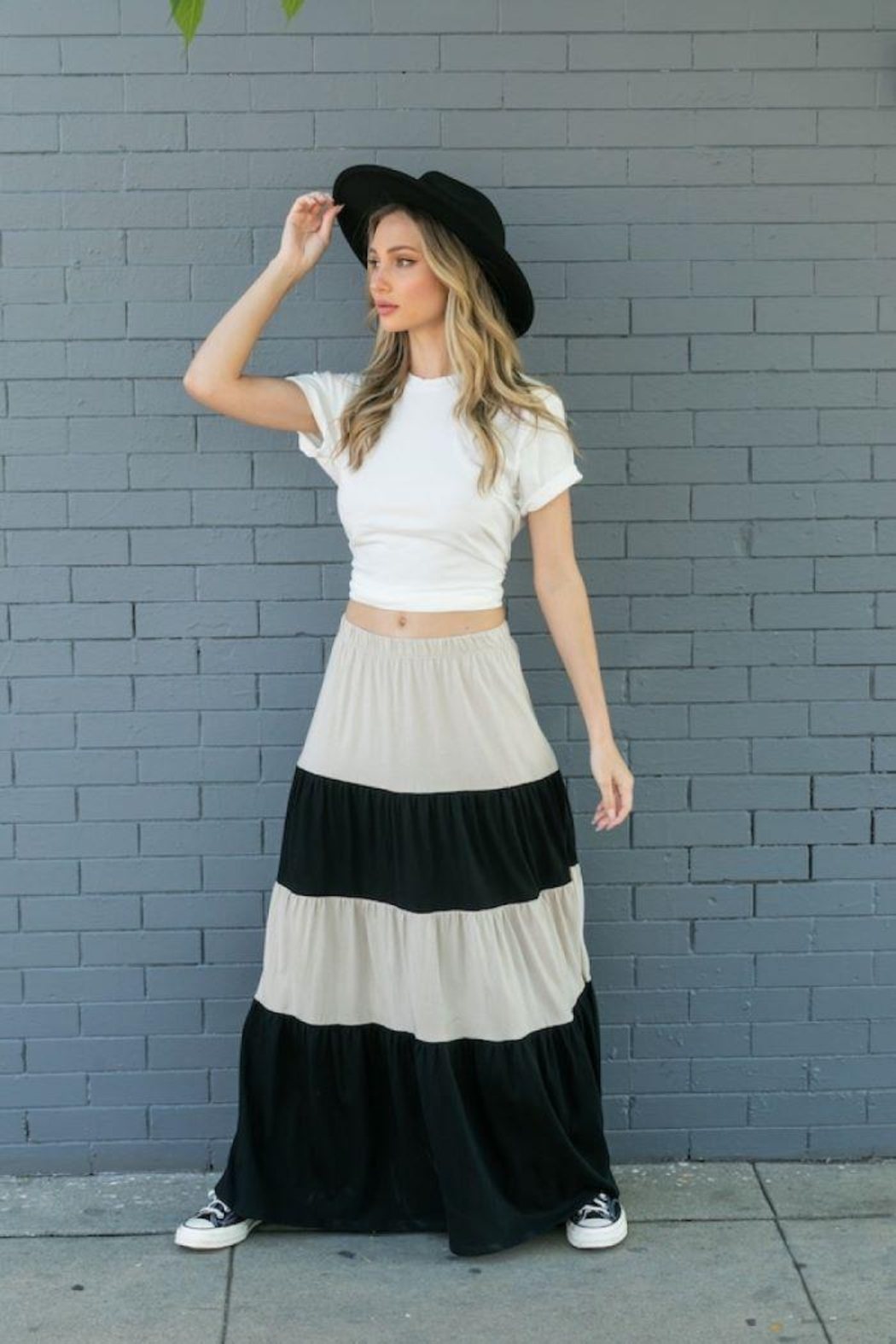 Tres Bien Color Block Tiered Maxi Skirt - Front Full Image