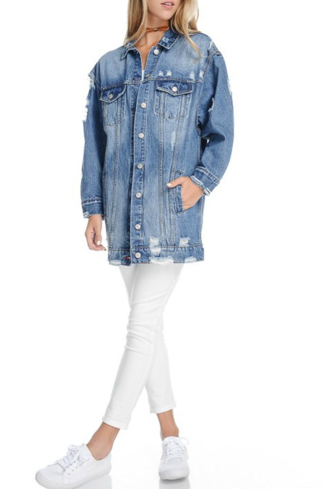 Fiore Distressed Denim Jacket - Side Cropped Image