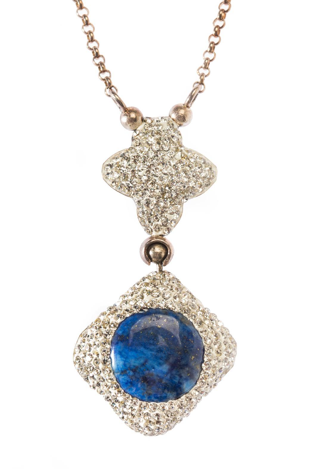 Tresca Italia Blue Lapis Necklace - Front Full Image