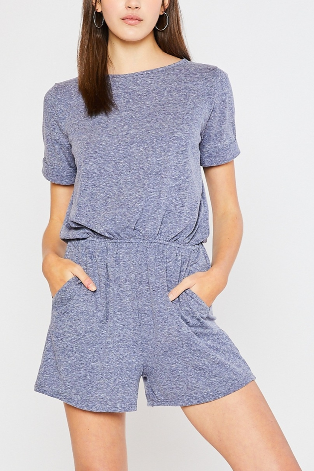 Lyn -Maree's Tri Blend Knit Romper - Front Cropped Image