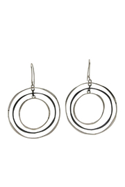 Klaebu Silver Tri Circle Drop Earrings - Product Mini Image