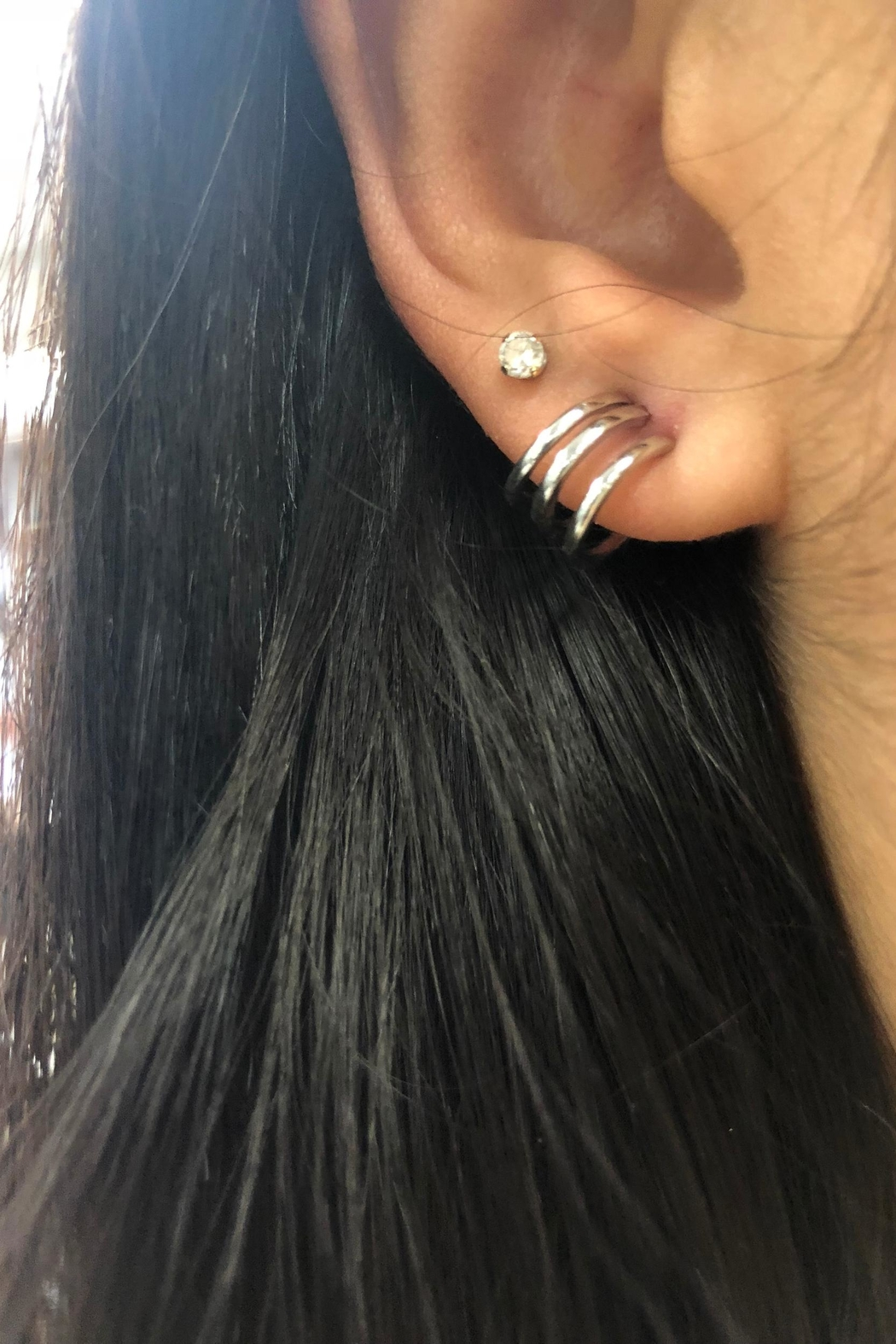 Lets Accessorize Tri-Huggie Earring - Side Cropped Image