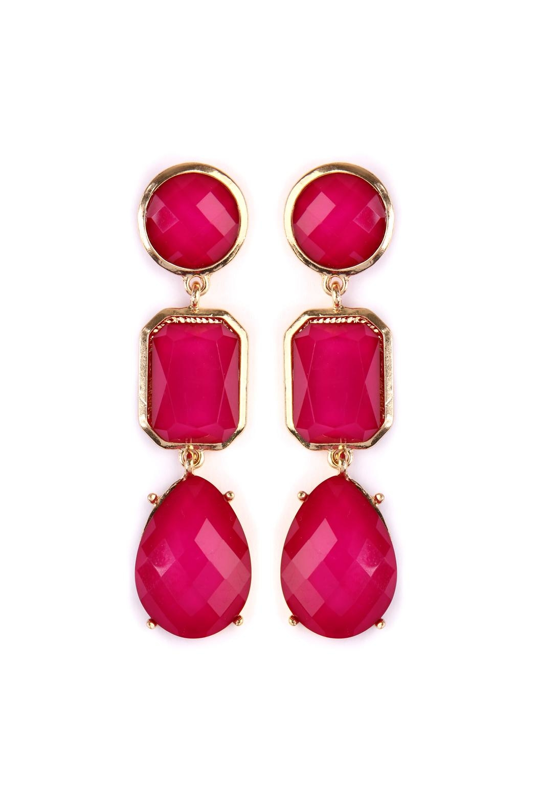 Riah Fashion Tri-Shapes-Gem-Cut Drop Earrings - Front Cropped Image