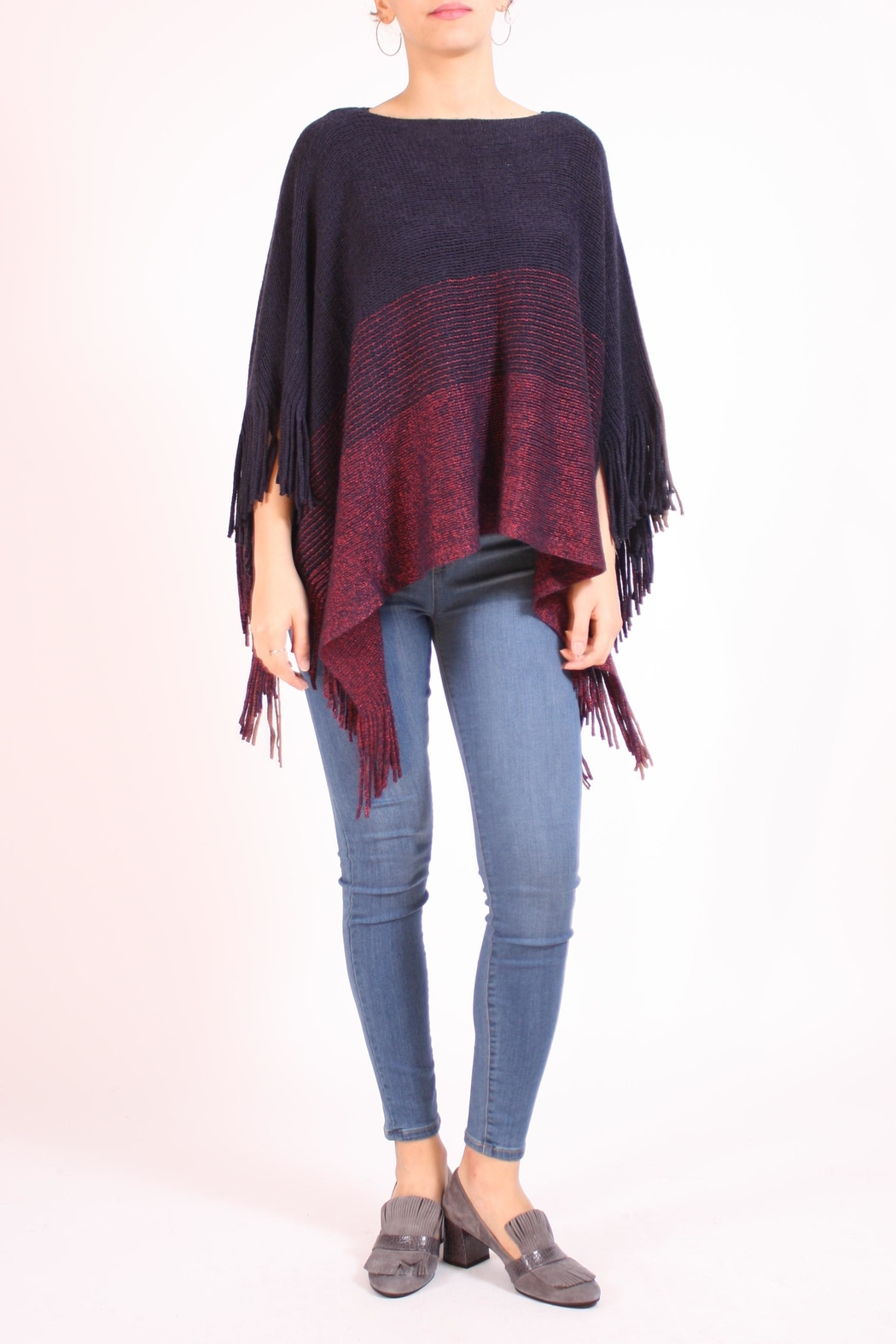8e397a84500 Talk of the Walk Tri-Stripe Fringe Poncho from New Jersey — Shoptiques