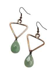 Anju Handcrafted Artisan Jewelry Triangle Aventurine Earring - Product Mini Image