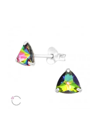 Silver Jewels Triangle Crystal Silver Stud Earrings - Front cropped