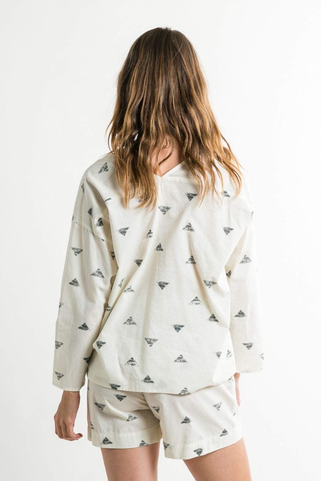 Grade & Gather  Triangle Print Button Up Shirt - Side Cropped Image