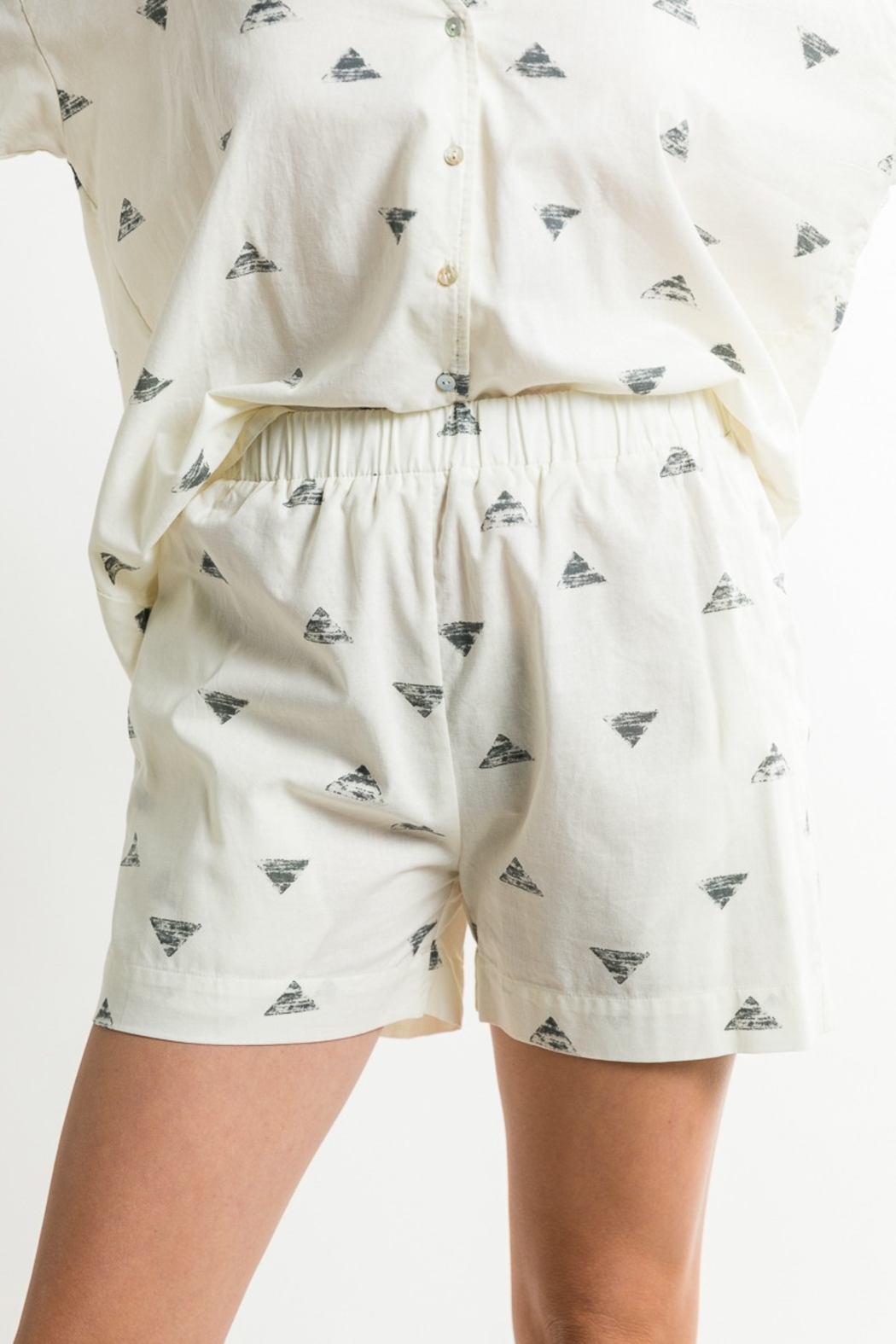 Grade & Gather  Triangle Print Shorts - Front Cropped Image