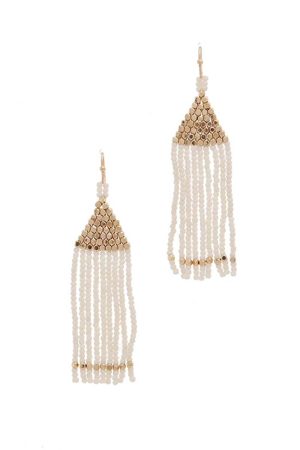 Fashion Jewelry Triangle-White Beaded Earrings - Front Cropped Image