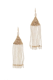 Fashion Jewelry Triangle-White Beaded Earrings - Product Mini Image