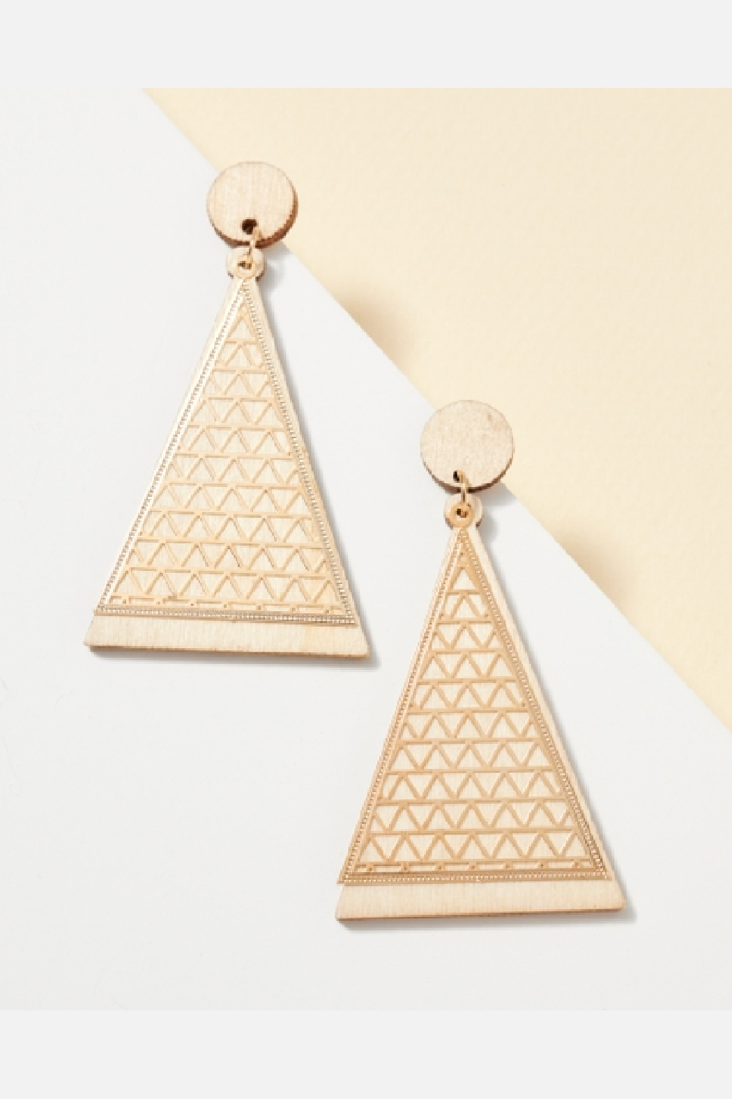 Avanue Zoe Triangle Wood Cut Out Metal Earring - Front Full Image