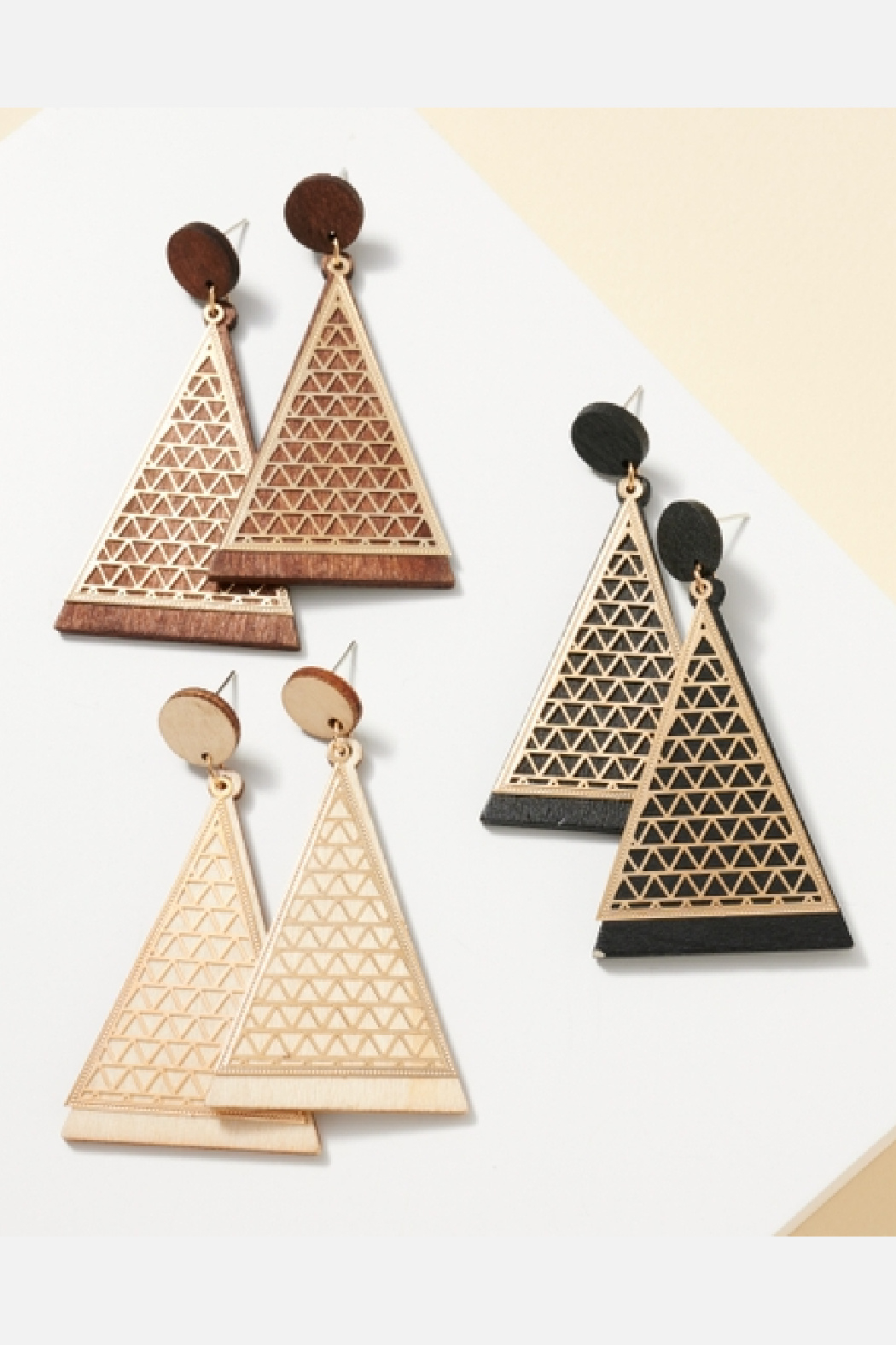 Avanue Zoe Triangle Wood Cut Out Metal Earring - Front Cropped Image