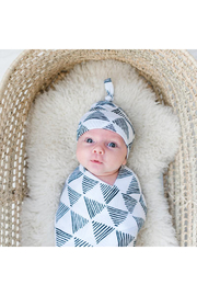 Little Sleepies Triangles Bamboo Viscose Swaddle + Hat Set - Front cropped