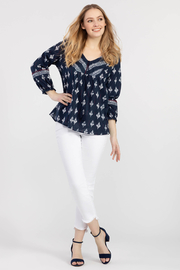 Tribal 64380 Pull on Jegging w/ Frey - Back cropped