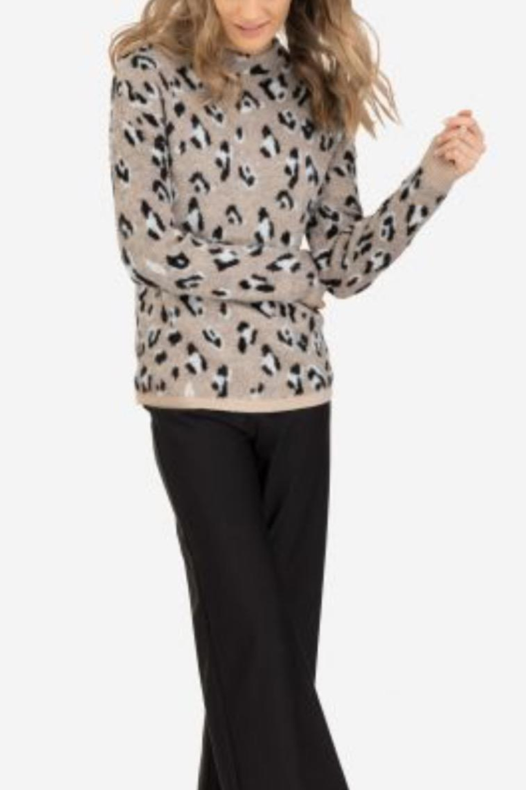 Tribal Animal Print Sweater - Front Full Image