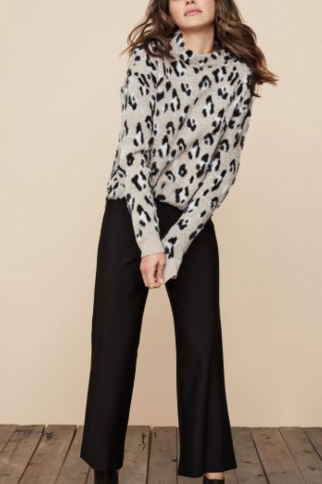 Tribal Animal Print Sweater - Front Cropped Image