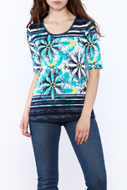 Tribal Aqua Floral Print Top - Product Mini Image