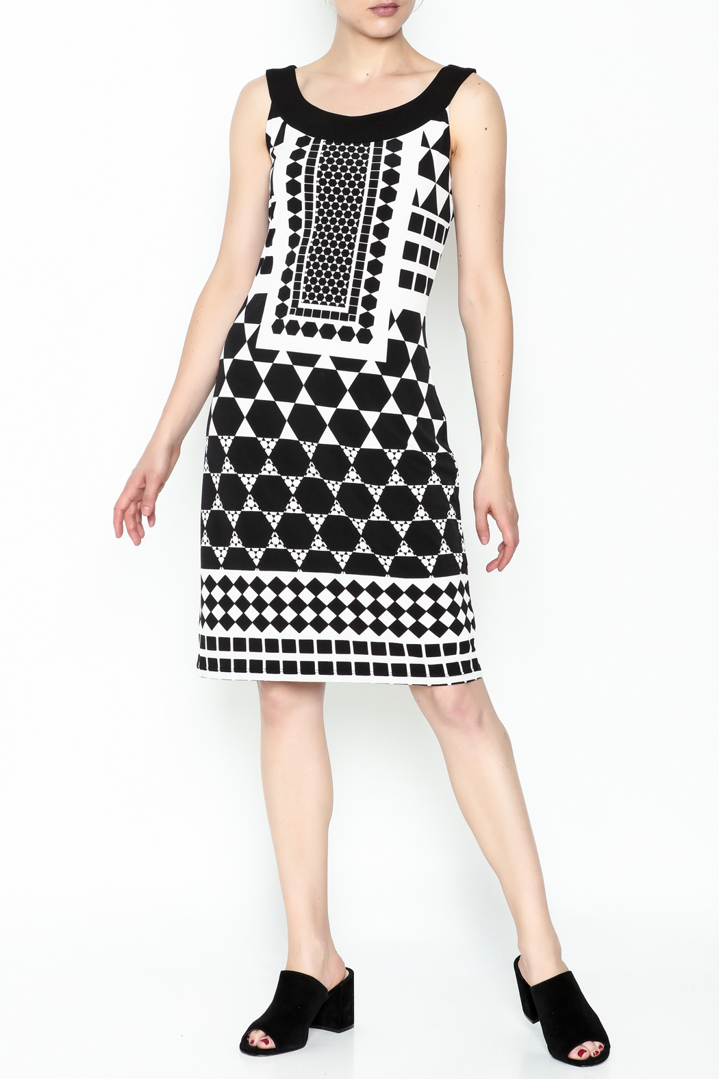 Tribal Printed Black Beauty Dress - Front Cropped Image