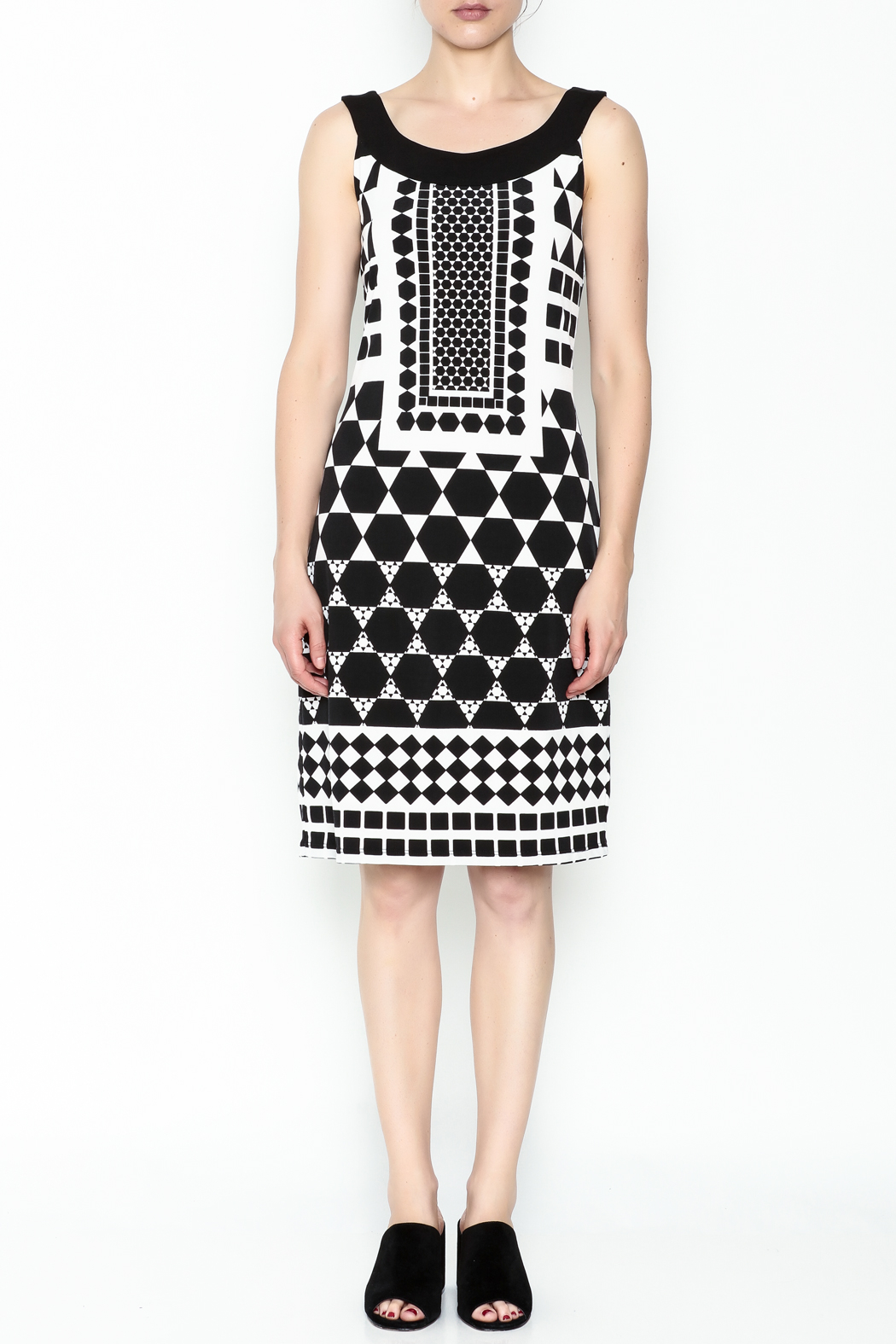 Tribal Printed Black Beauty Dress - Front Full Image