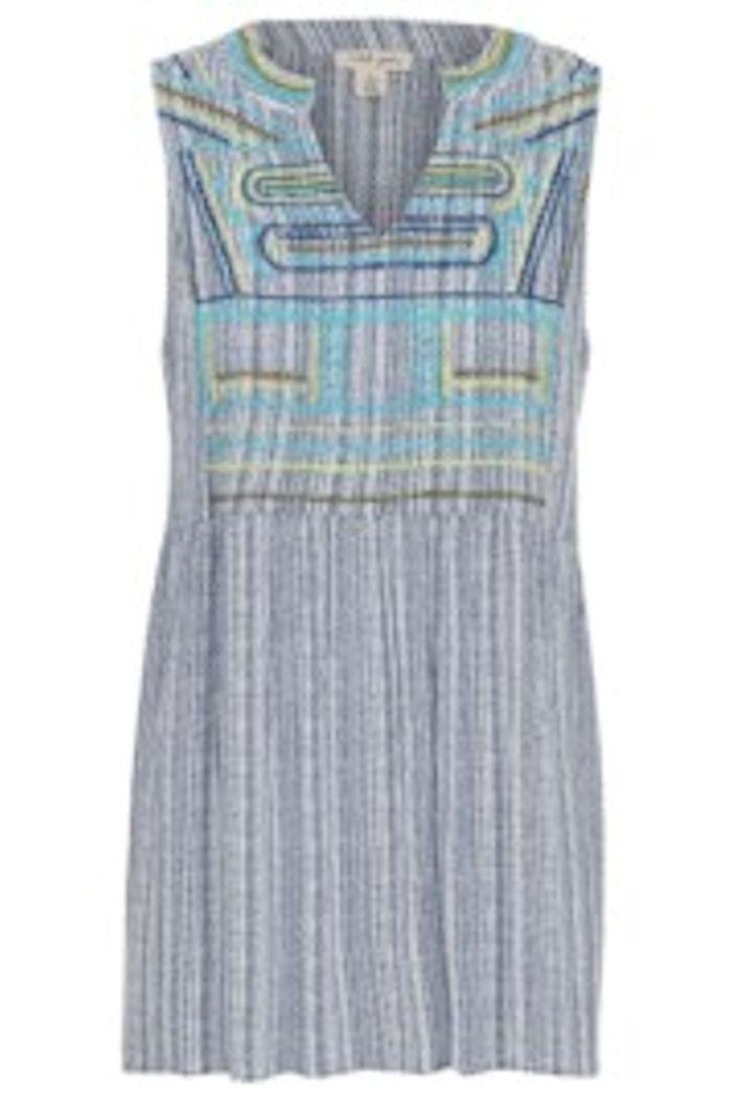 Tribal Blue Sleeveless Top - Front Cropped Image