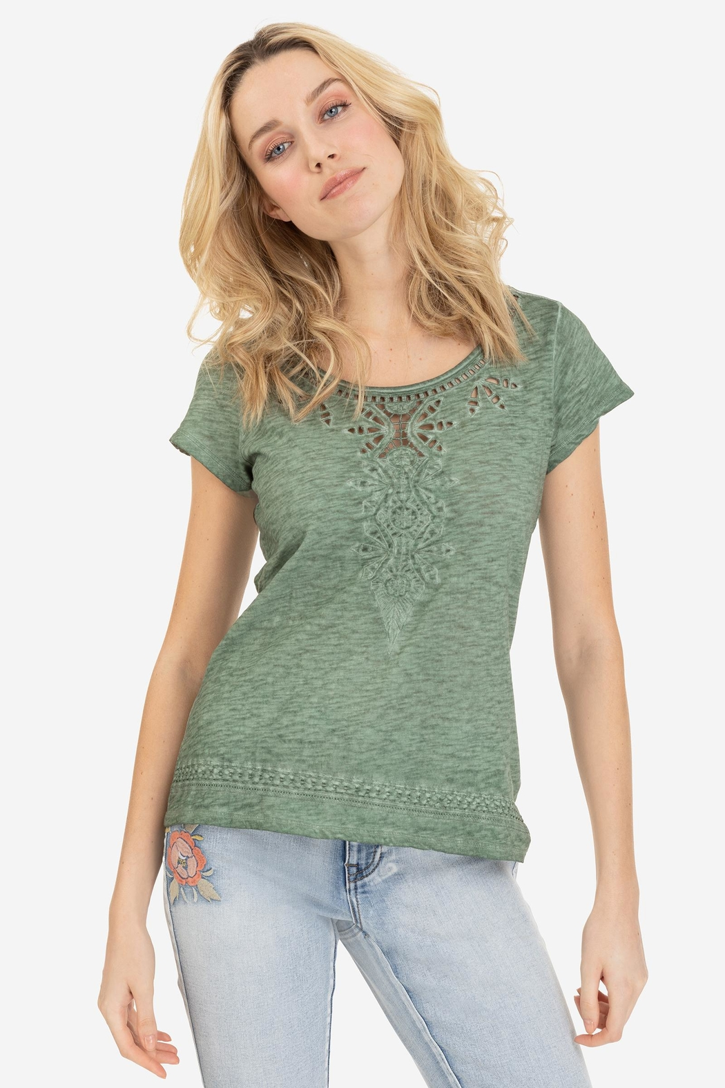 Tribal Cap-Sleeve Embroidered Top - Main Image
