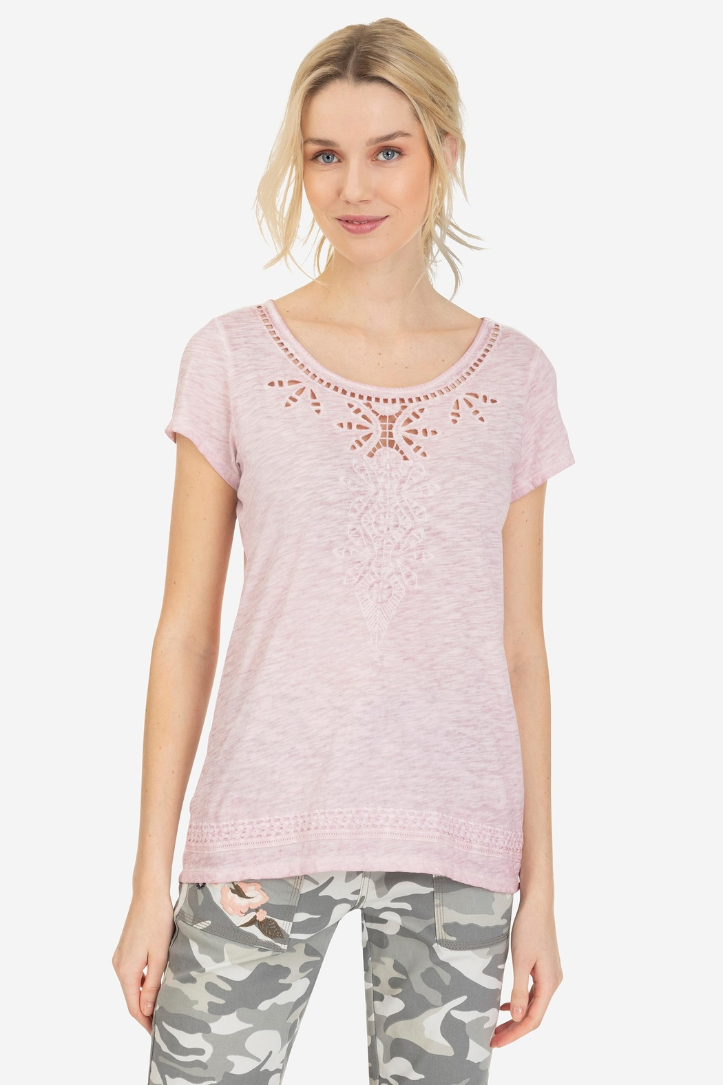 Tribal Cap-Sleeve Embroidered Top - Front Cropped Image