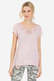 Tribal Cap-Sleeve Embroidered Top - Front cropped
