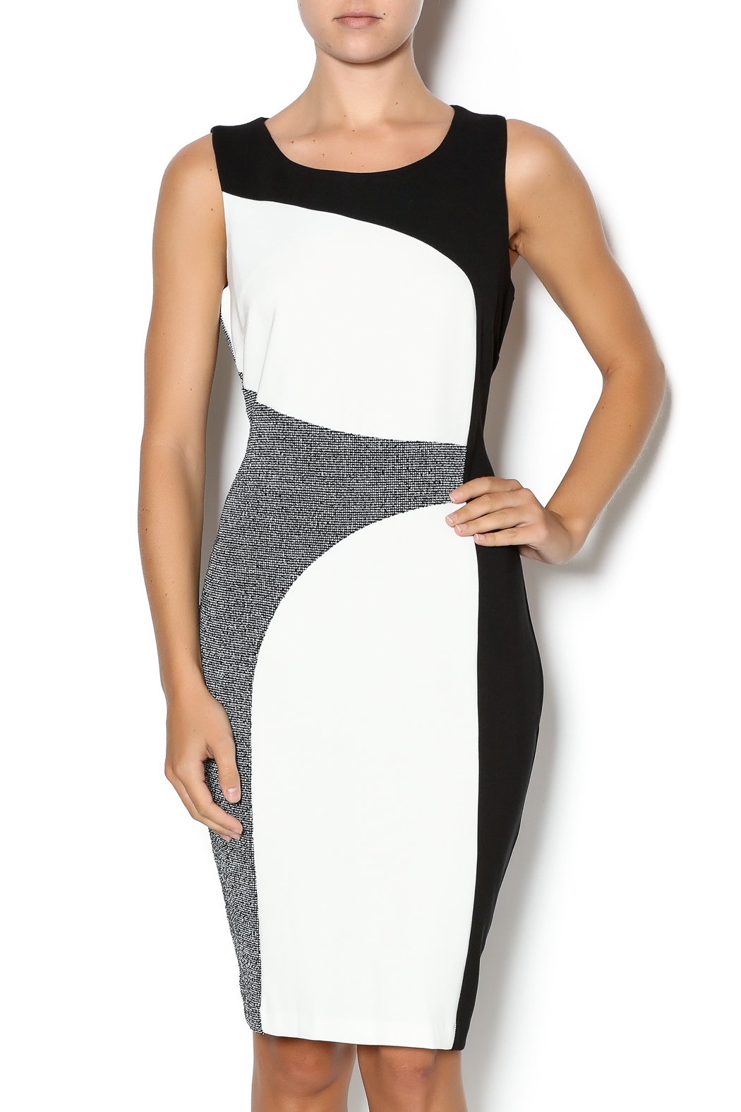 Tribal Color Block Sheath Dress - Front Cropped Image