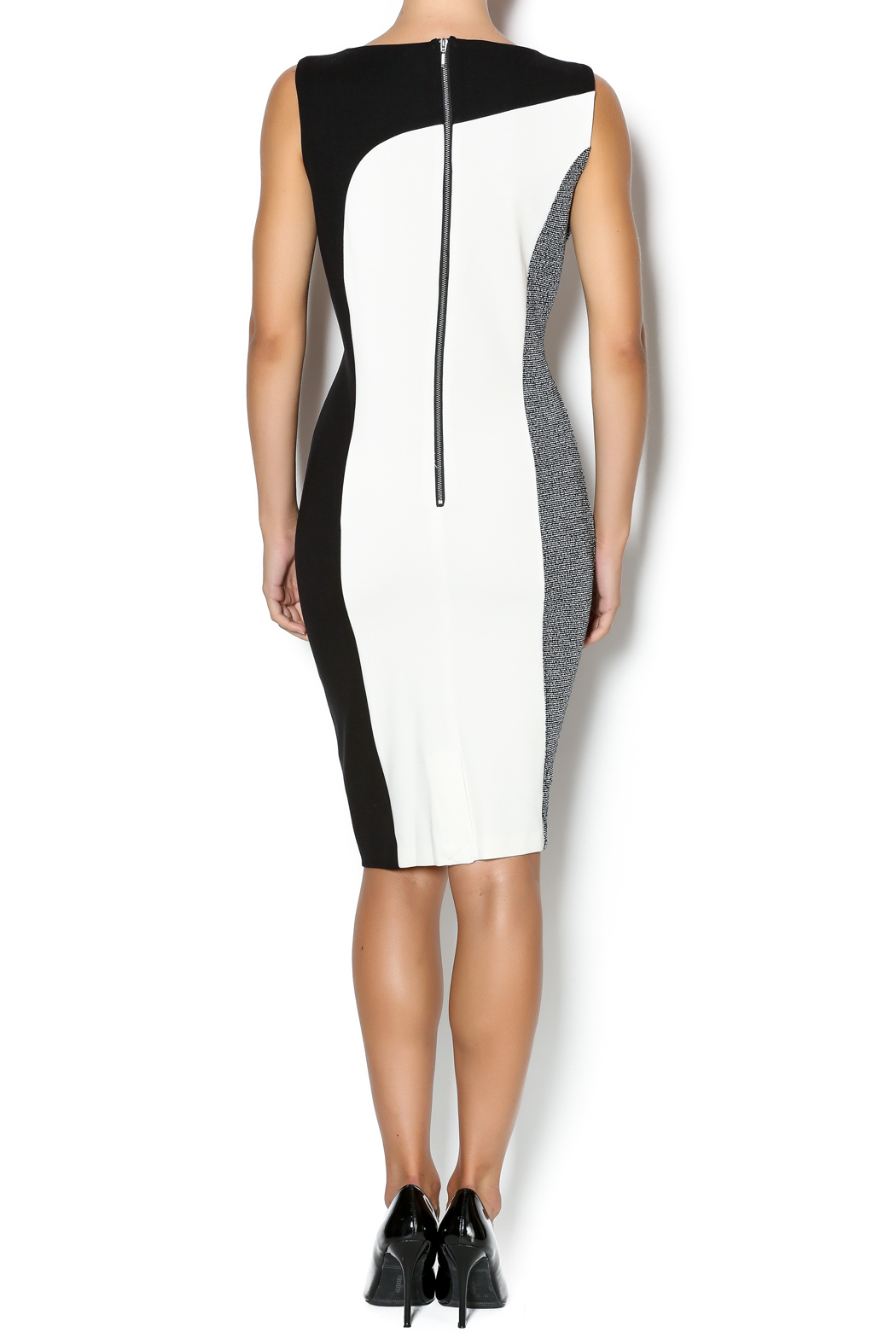 Tribal Color Block Sheath Dress - Side Cropped Image