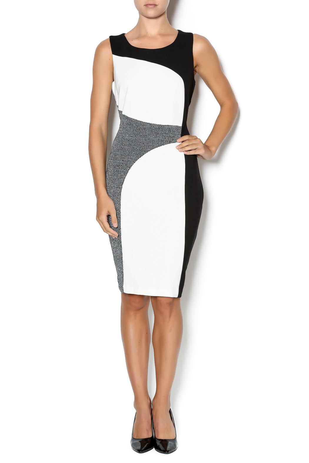 Tribal Color Block Sheath Dress - Front Full Image