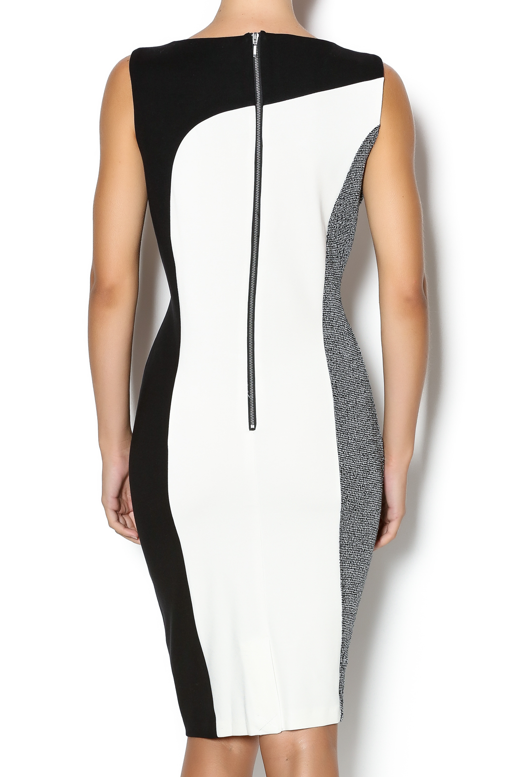 Tribal Color Block Sheath Dress - Back Cropped Image