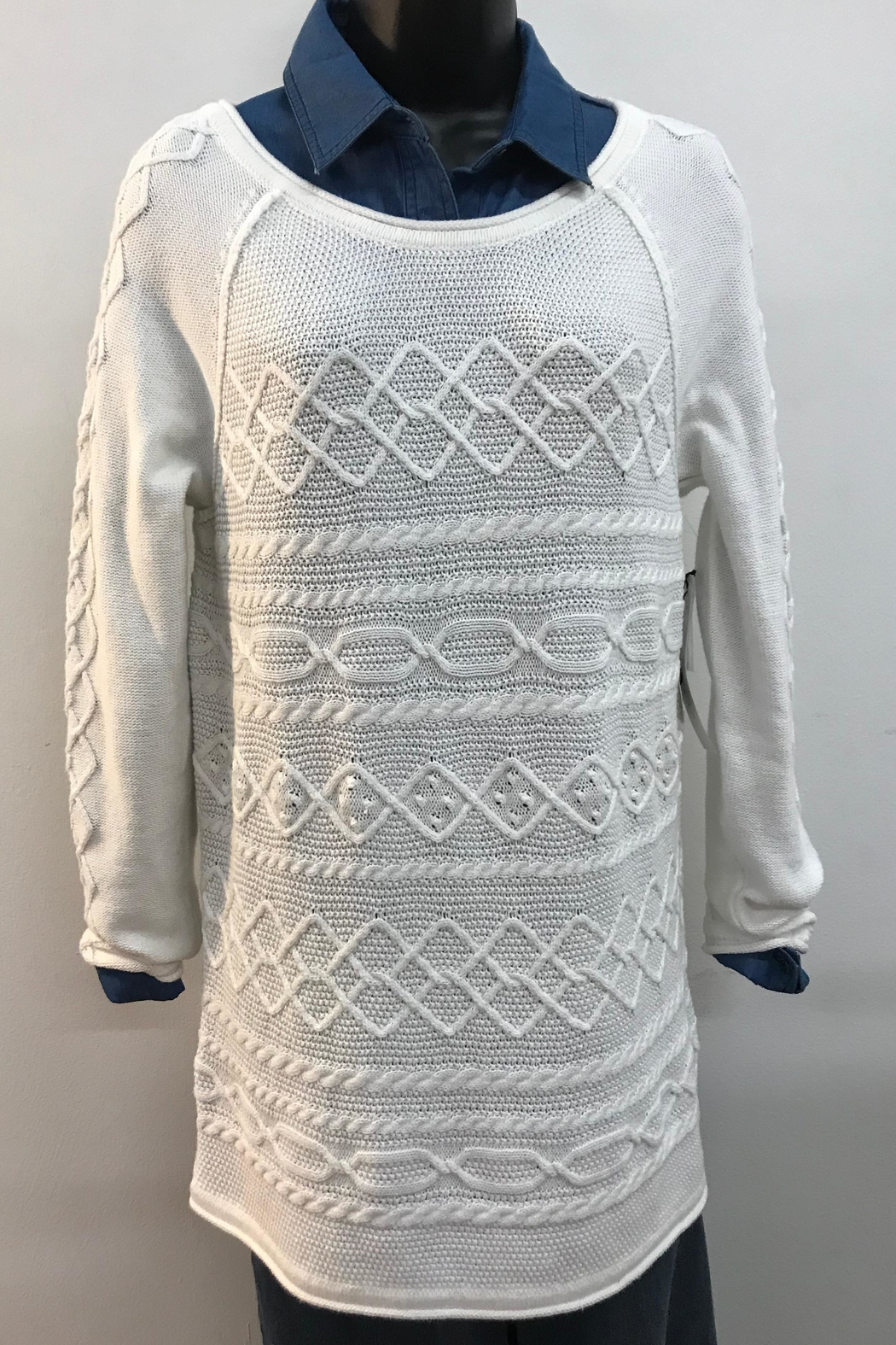 Tribal Cotton Cable Knit Sweater - Main Image