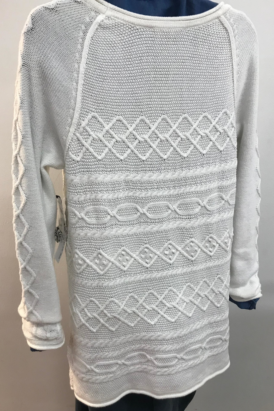 Tribal Cotton Cable Knit Sweater - Front Full Image
