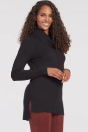 Tribal  Cowl Neck Sweater with Ribbed Back - Black - Product Mini Image