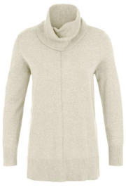 Tribal  Cowl Neck Sweater with Ribbed Back - Cream - Product Mini Image