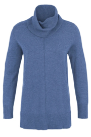 Tribal  Cowl Neck Sweater with Ribbed Back - H. China Blue - Product Mini Image