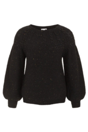 Tribal  Crew Neck Cable Sweater - Black - Product Mini Image