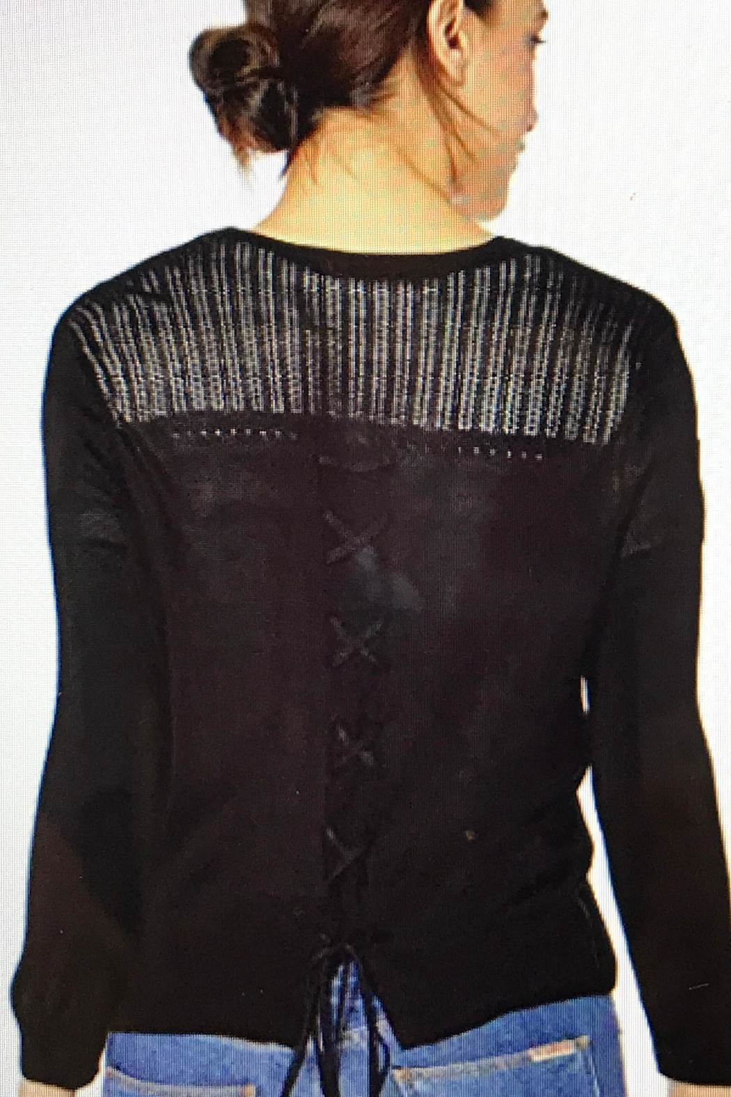 Tribal Cropped Cardigan Sweater - Front Full Image