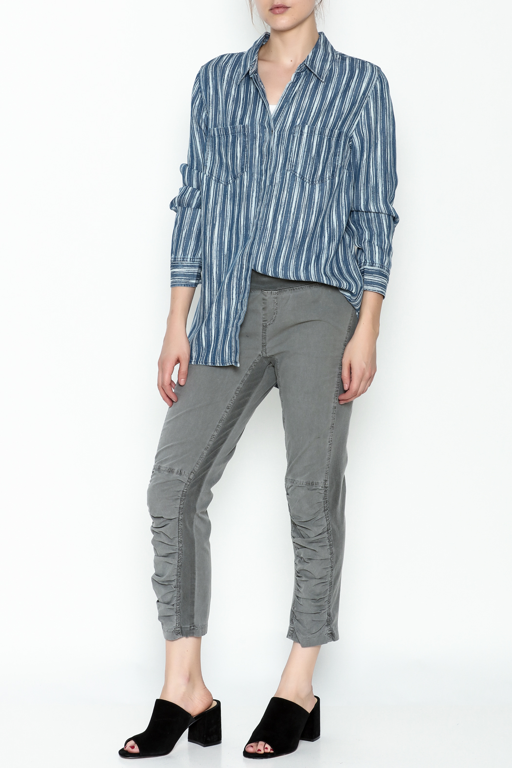 Tribal Denim Stripe Shirt - Side Cropped Image