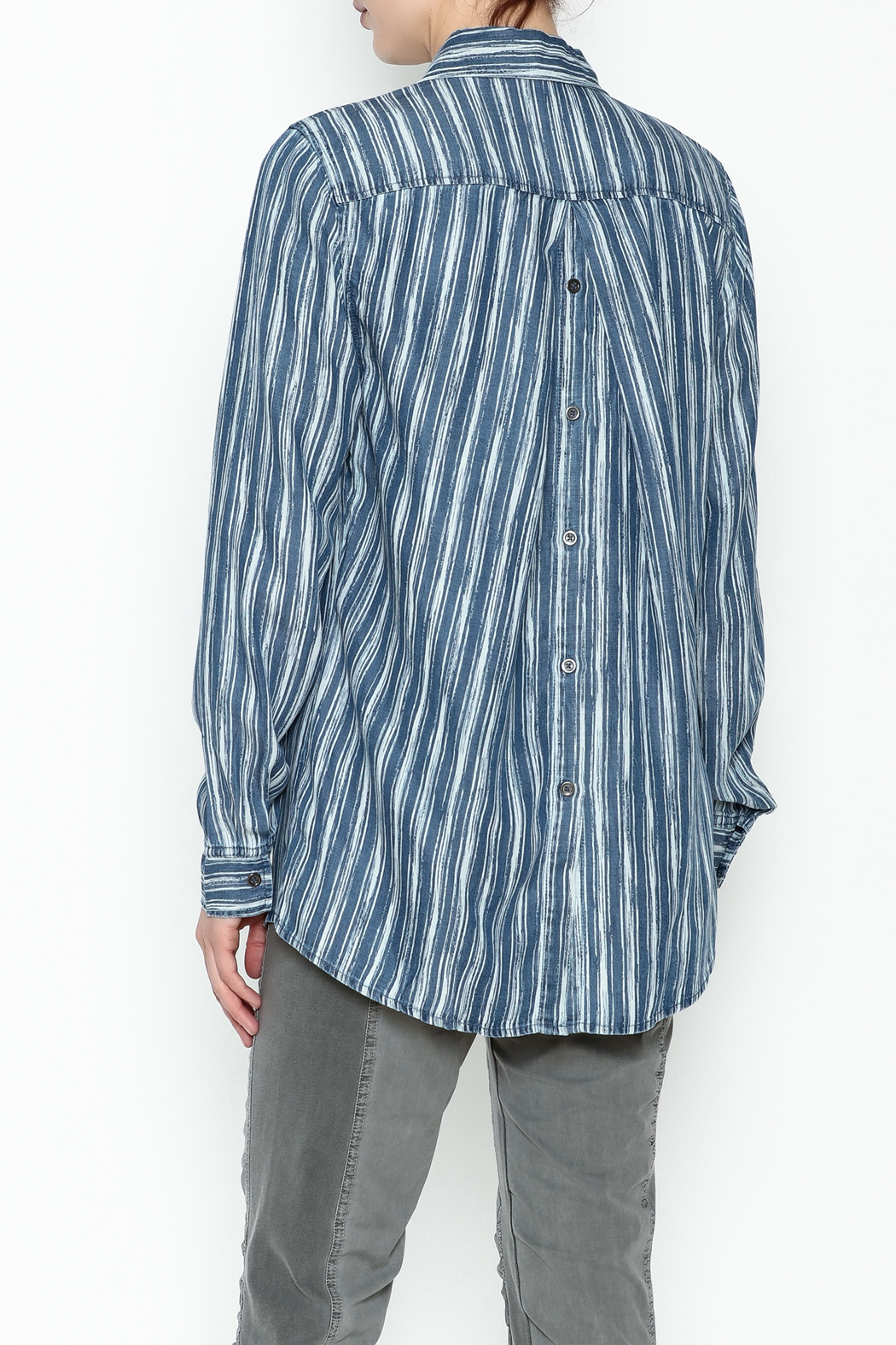 Tribal Denim Stripe Shirt - Back Cropped Image
