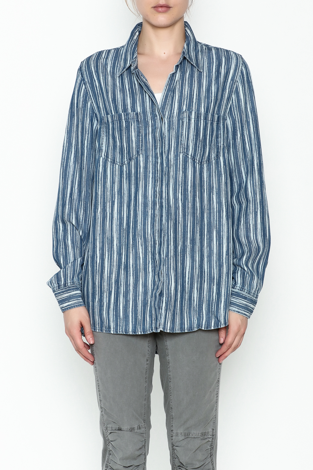 Tribal Denim Stripe Shirt - Front Full Image