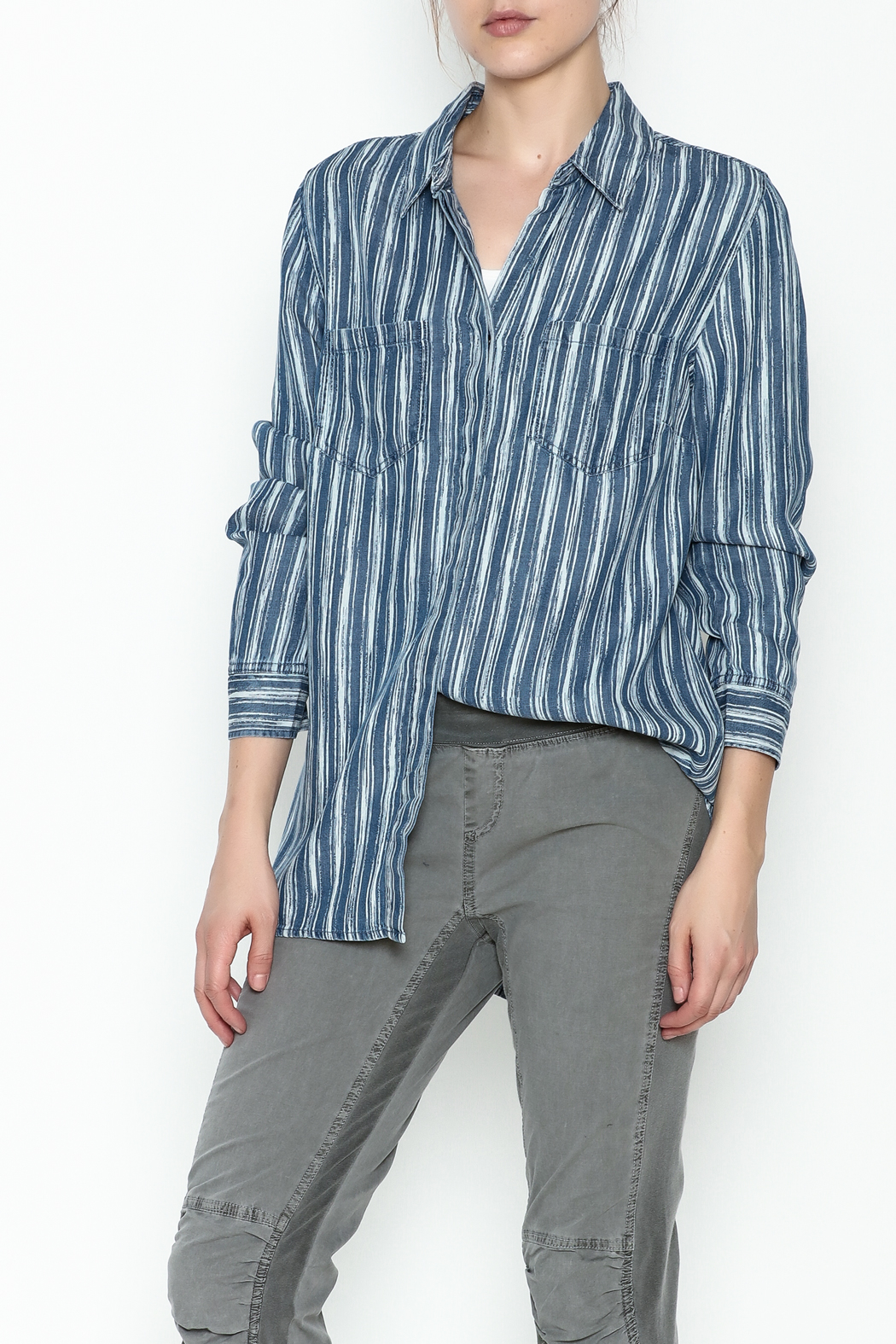 Tribal Denim Stripe Shirt - Main Image
