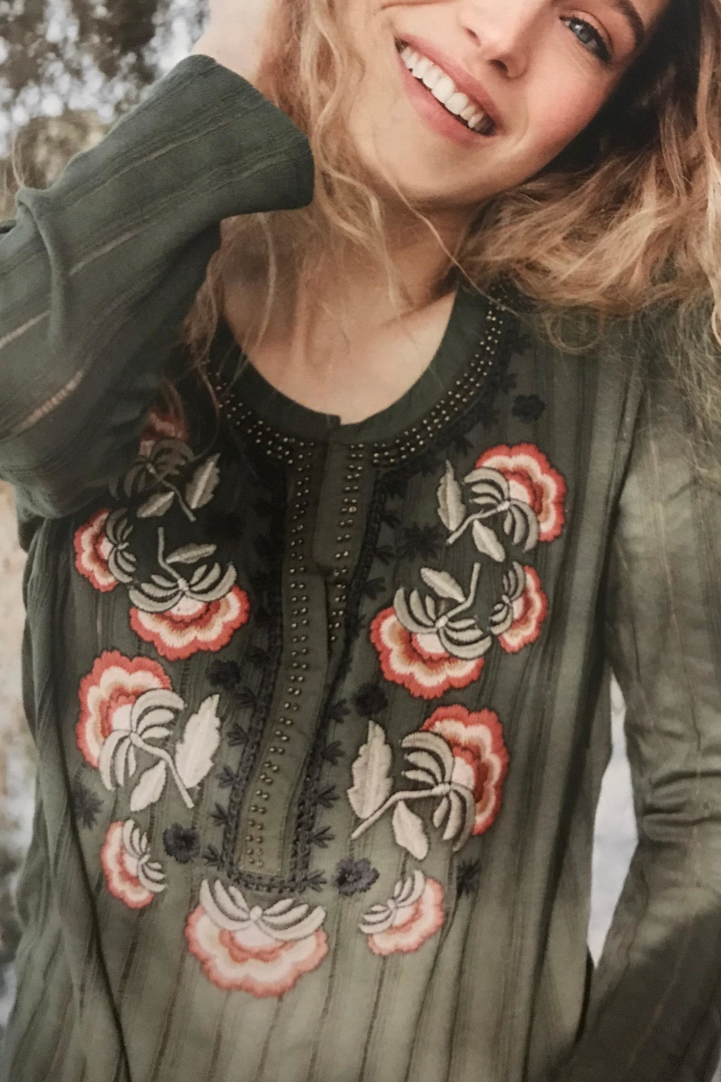 Tribal Embroidered Henley Top - Front Full Image