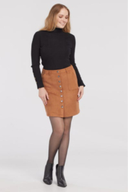 Tribal  Faux Suede A-Line Skirt w/ Button Front - Fox - Product Mini Image