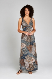 Apricot Tribal Feather Empire Waist Maxi Dress - Product Mini Image
