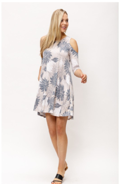 MTS Tribal Floral Cold Shoulder Dress - Alternate List Image