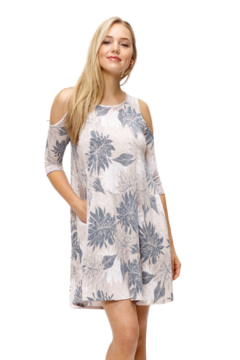 MTS Tribal Floral Cold Shoulder Dress - Product List Image